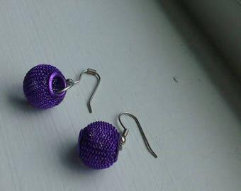 Purple basket earrings