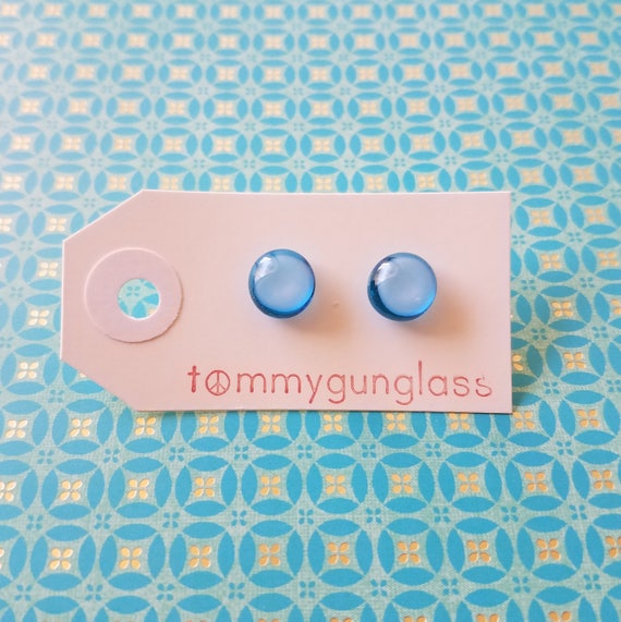 Icy Blue and White Glass Stud Earrings