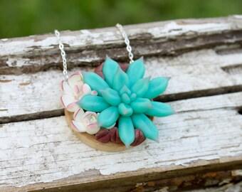 White Blue Purple Succulent Pendant Wooden Basis Medallion Succulent Necklace Wedding Bridal Birthday Gifts