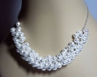 30% OFF SALE thru Mon White Pearl Cluster Necklace, Wedding Bridesmaid Mothers Day Valetines Mom Sister Grandmother Wife Birthday Aunt Jewel