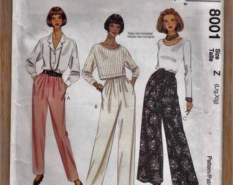"1990's Plus Size Womens' Pants - Elastic Waist Leg Variations - Size 16-22 Bust 40-44"" - Sewing Pattern McCall's 8001 UNCUT"