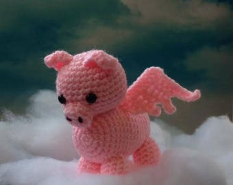 Flying Pig - Made to Order - pig amigurumi - When Pigs Fly - crochet pig