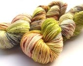 Hand dyed sock yarn Fine Merino Socks  hand painted  speckled: Olive