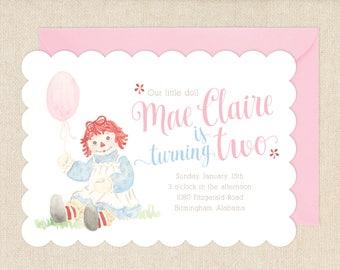 Watercolor Raggedy Ann Invitations