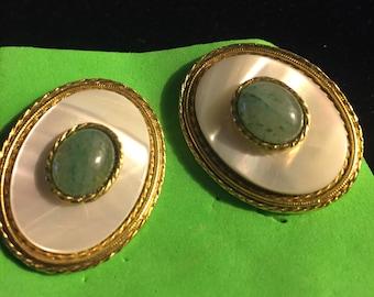 Vintage Gorgeous Green Jade Mother of PearlGoldtone Metal Pierced Earrings