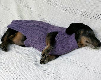 Purple Dachshund sweater cable knit fabric sewn to fit and stay on