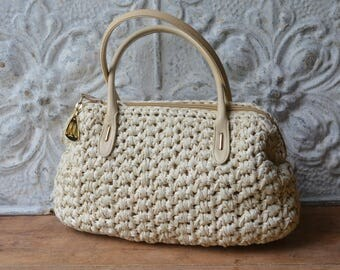 Vintage Cream Raffia Handbag By Morris Moskowitz