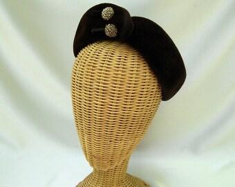 Vintage Ladies Hat Roberta Bernays Chocolate Brown Wool Felt Velour