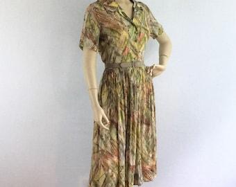 Vintage 1950s day dress - 50s semi sheer novelty print casual dress - medium