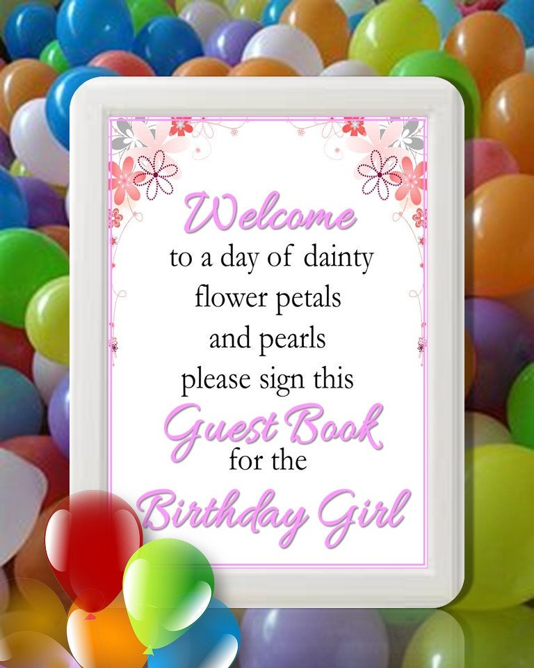 Pink Floral Guest Book Sign Birthday Table Decor Birthday Party