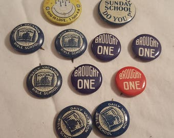 Collection of Vintage Church Award Buttons