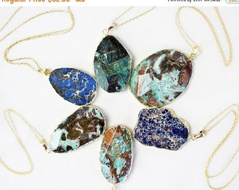 Massive Jasper Slab Necklace / 24K Gold Electroplated Jasper Pendant / Gold Plated Chain / Bohemian Chic / Boho Fashion / Turquoise Color
