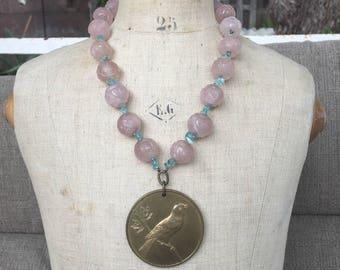 Vintage carved rose quartz and apatite gemstone assemblage necklace