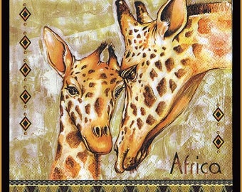 4 Giraffe Paper Napkins -  Use For Decoupage, African Napkins, Animal Napkins, Decorating Furniture, Scrapbooking,