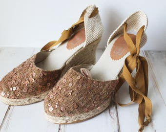 SIZE 8 Vintage Sequined Espadrille Wedge Strappy Sandals