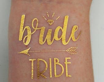 Bride Tribe Tattoo Bachelorette Party Tattoo Metallic Temporary Tattoo Gold Foil Tattoo Bridesmaid Gifts Gold Tattoo Hens Party Flash Tattoo