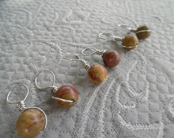 "Knitting Stitch markers, set of 6, ""Jasper"",  up to 8 mm needles"