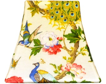 Butter Cream Peacock - SLIP COVERS for lampshades