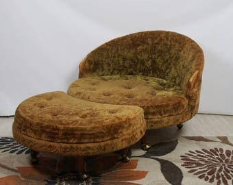 Adrian Pearsall Havana chair and ottoman / Mid Century Modern chair / Vintage chair round ottoman / MCM furniture