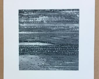 """Abstract etching. Contemporary Art  Print. Original Intaglio. Greenish Gray + Silver colors. Beach Art: """" Current 5"""" . 10"""" x10"""" . unframed"""