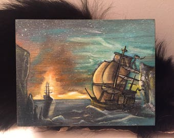 Lost At Sea II - Hand-painted Acrylic on Wooden Cigar Box