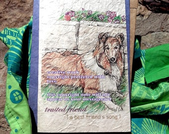 trusted friend... rough collie/collie/storybook/personalize/sentimental cards/unique empathy condolence cards
