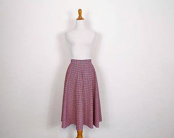 ON SALE Vintage Gingham Check Skirt - Red White and Blue A-Line 'Juniorite'  Skirt - Size Small