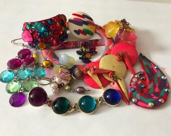 Rainbow Jewelry Lot | Junk Jewelry Lot | Enamel Vintage Earrings | Dangle Earrings | Rainbow Earrings | Vintage Jewelry Lot | Retro Jewelry