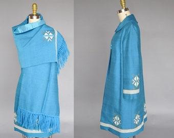 1960s dress set | vintage 60s blue coat and dress | 60s mod coat | southwest embroidery, scarf