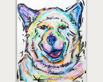 Original Custom Colorful Dog Paintings, Colorful Art, Acrylic On canvas, Wall Decor, Home Decor
