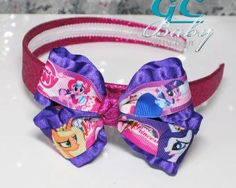 Little Girls Pony Glitter Hard Headband - Hot Pink Purple Cartoon Bow Hair Accessory