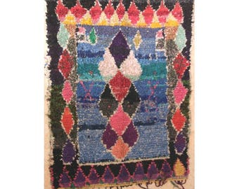 "200X140 cm 6'6"" x 4'7""   T30256  boucherouite , boucharouette,  moroccan rugs , berber rugs, morocco carpets"