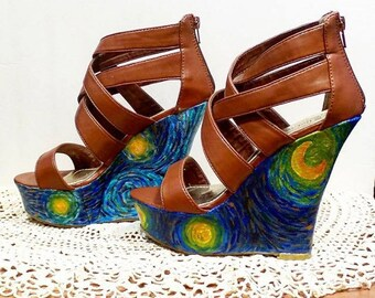 Starry Night Inspired Painted Shoes