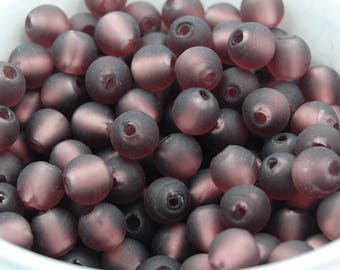 mulberry purple frosted silver foil glass beads 10mm round 20