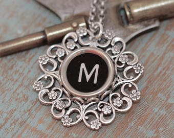 "Typewriter Key Necklace-Letter M Necklace-Vintage Black Letter ""M""-Typewriter Key Pendant-Vintage Typewriter Necklace-Typewriter Key Pendant"