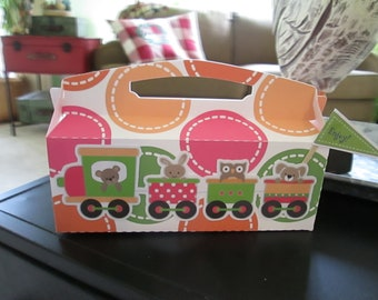 Girly Animal Train Wide Gable Favor Boxes Set of 12 with Free Shipping