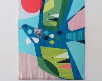 Flying Tui, fabric, wall hanging, Ellen Giggenbach