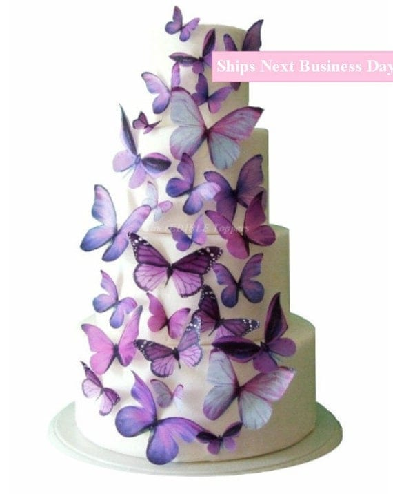 Il_570xn  sc 1 st  Catch My Party & Wedding Cake Topper | Edible Butterfly Cake Decorations | Summer ...