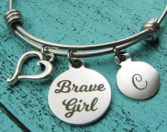 brave girl bracelet, recovery gift, cancer survivor jewelry, strong women, sober recovery, strength bracelet, get well gift, encouragement
