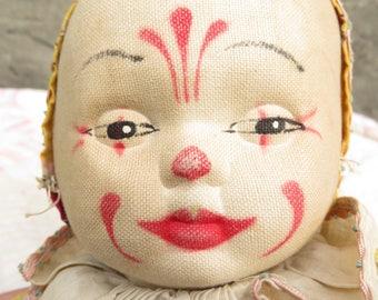 Vintage Clown Doll Hand Painted Hard Cloth Face Yellow Clown Suit Felt Feet Hand