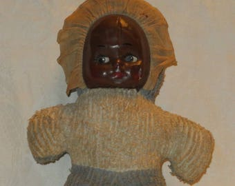 Antique Vintage Black Cloth Baby Doll Painted Canvas Face Chenille Body AS IS