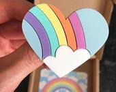 Rainbow and cloud heart brooch