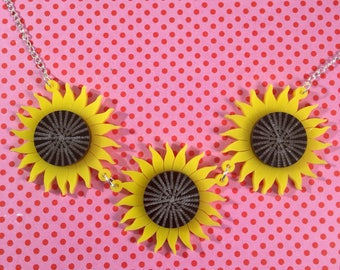 Sunflower necklace, laser cut acrylic