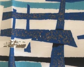 "Vintage Mid Century Modern Asian Fabric Sample Blue Hong Kong Print 15"" by 21"""
