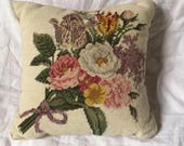 Vintage Wool Needlepoint Flowered Accent Pillow In Rich Colors