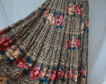 CAROLE LITTLE vintage 80's floral boho gypsy skirt SM
