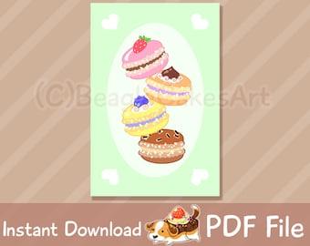 Printable Macarons Card, Happy Birthday Card, Thank You Card, Holiday Greeting Card, Printable Invitations, Birthday Printable, PDF Download