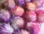 Tropical Sunset Purple Pink Orange Faux Fur Pom Poms for Knit & Crochet Hats Craft Supply Embellishment add to Key Rings Purse Backpack Fob