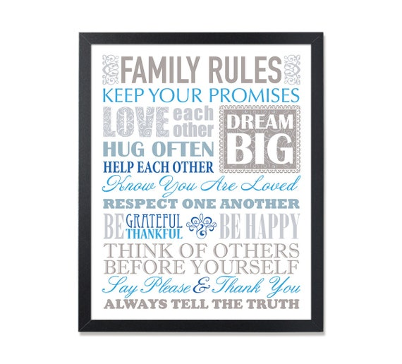 Our Family Rules Sign House Rules Life Quote Family Rules Decor Family Wall  Art Christian Art Christian Family, In Our Home, Christian Rules
