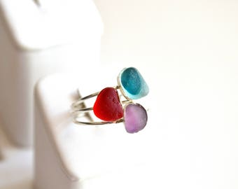 Size 8 Stackable Sterling Silver Seaglass Rings Red,or Purple or Turqoise